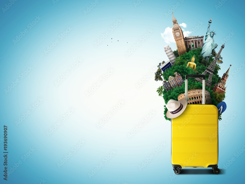 Fototapeta Yellow travel bag with world landmark, holiday and tourism