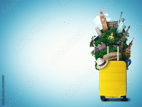 Fototapeta Yellow travel bag with world landmark, holiday and tourism obraz