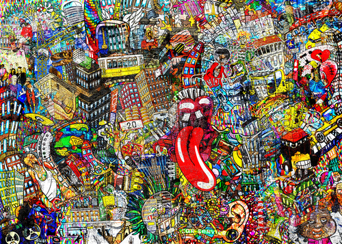 plakat Graffiti, City, an illustration of a large collage, with houses, cars and people