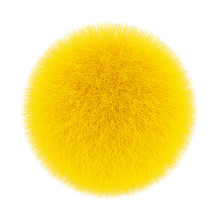 Yellow Fur Hair Ball. 3d Rendering