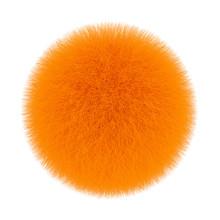 Orange Fur Hair Ball. 3d Rendering