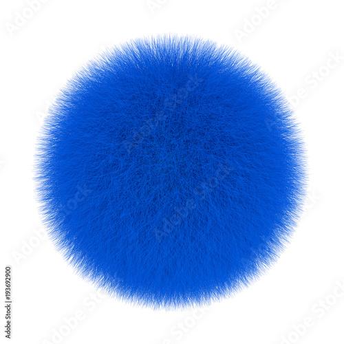 Blue Fur Hair Ball. 3d Rendering Wall mural