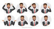 Set of emotions and poses for business man. Portrait of Male in a cartoon style experiences different emotions