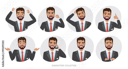 Fotografía  Set of emotions and poses for business man