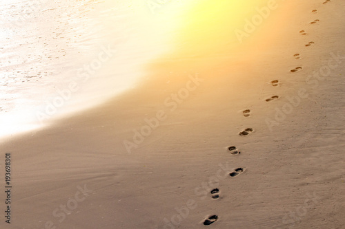 footprints in the sand near the sea, toned Wallpaper Mural