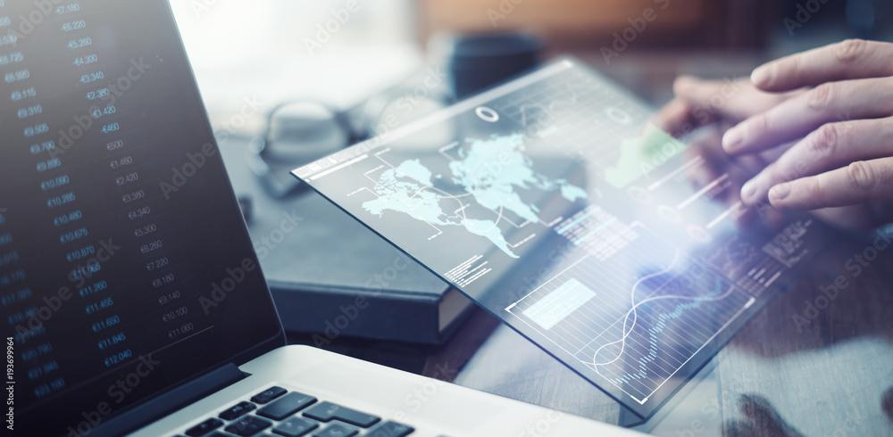 Fototapety, obrazy: Man with futuristic digital tablet