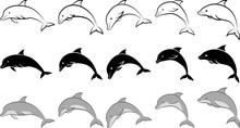 Dolphin - Clip Art Illustration And Line Art