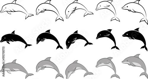 Fototapeta premium delfin - ilustracja clipart i grafika liniowa