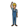 repairman or construction worker with safety hat vector illustration