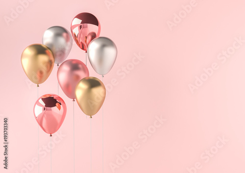 Fotografija  Set of realistic glossy metallic balloons with empty space for birthday, party, promotion social media banners or posters