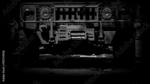 Fotografía  Modern armored military truck - monochrome