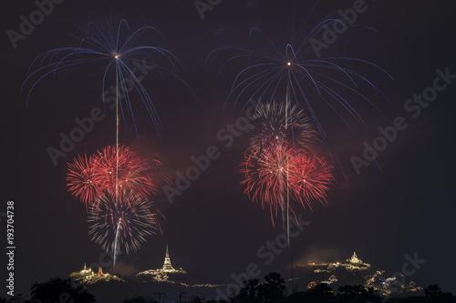 Keuken foto achterwand Nasa Beautiful colorful fireworks show at Phra Nakhon Khiri or (Khao Wang), Petchaburi,Thailand