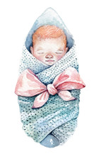 A Swaddled Baby. Watercolor Il...