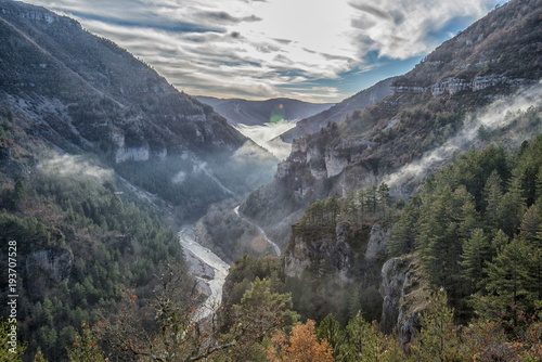Fotomural CANYON OF THE GORGES DU TARN FORMED BY THE TARN RIVER BETWEEN THE CAUSSE MEJEAN