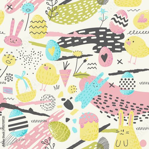 Cotton fabric Happy Easter Seamless Pattern with Eggs, Bunny and Flowers. Spring Background for Fabric, Wrapping Paper and Greeting Cards. Vector illustration
