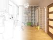 Render Children room.Graphic black white interior sketch