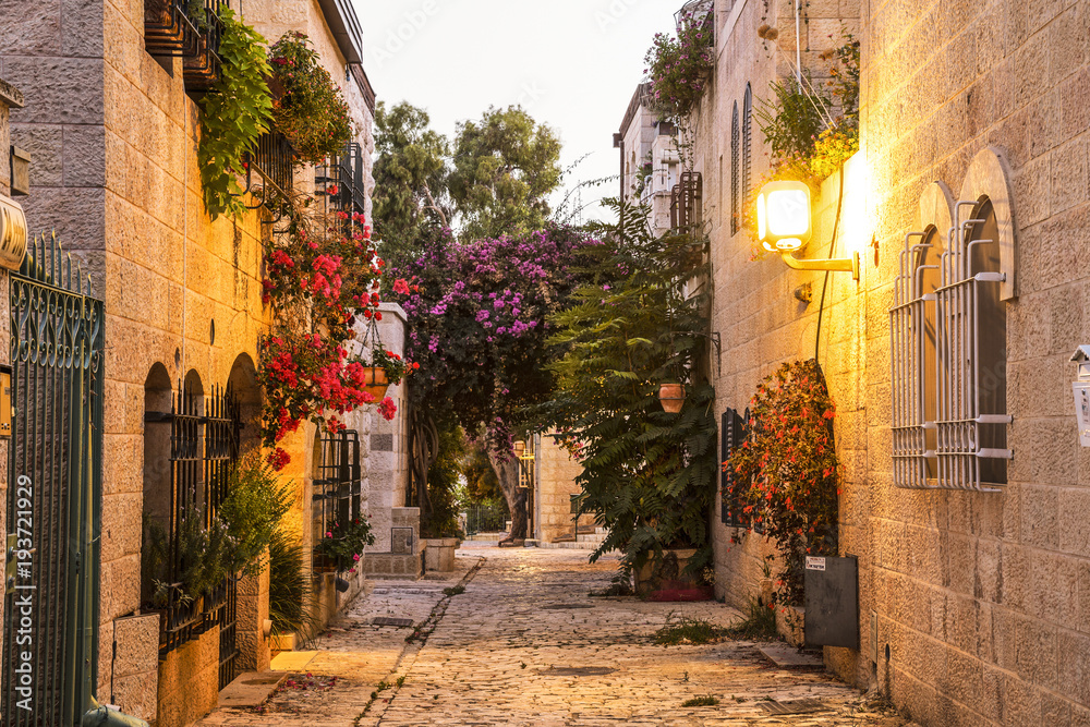 Fototapety, obrazy: Old area Mishkenot Shaananim in Jerusalem in the evening, Israel