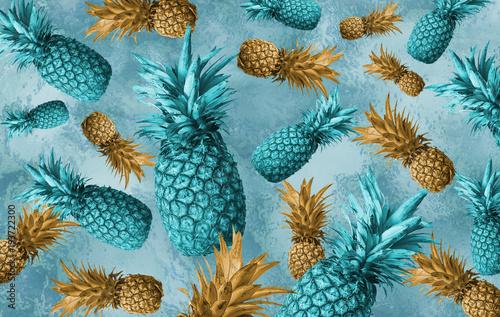 abstrakcjonistyczne-niebieskie-tlo-z-ananasami
