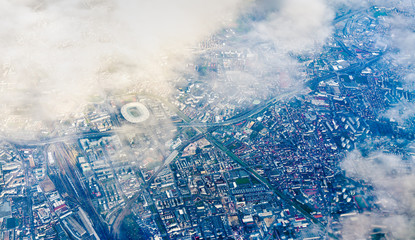 Aerial view of Saint-Denis with the Stade de France. Nothern suburb of Paris