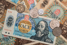 Old, Vintage Defunct Currency (Czechoslovakian Banknotes And Coins)