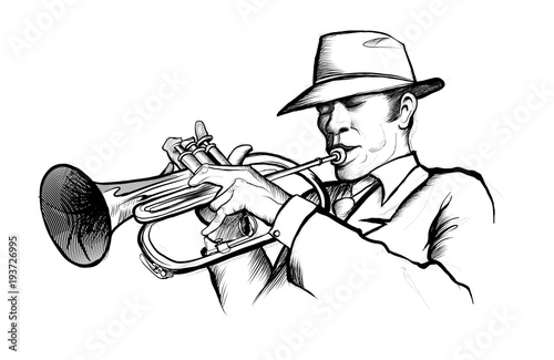 Fotobehang Art Studio drawing of a musician playing trumpet
