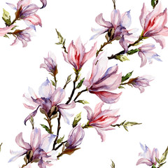 FototapetaPink magnolia flowers on a twig on white background. Seamless floral pattern. Diagonal arrangement. Watercolor painting.