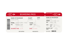 Airline Ticket.  Boarding Pass...