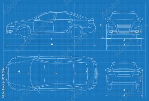 Car schematic or car blueprint vector illustration sedan car in car schematic or car blueprint vector illustration sedan car in outline business sedan malvernweather Image collections