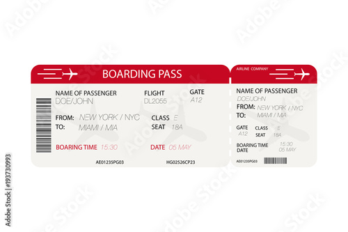 Airline Ticket Boarding Pass With Airplane Silhouette On White