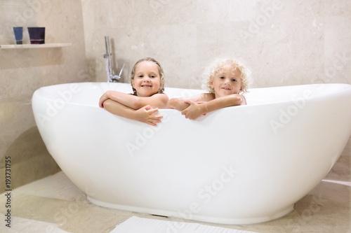 Fotografie, Obraz  Kids in bath. Children bathing. Family bathroom.