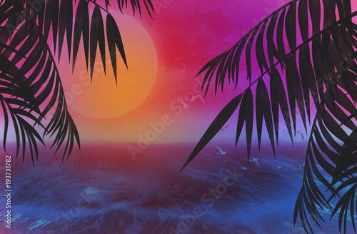 Poster de jardin Gris traffic Background palms, sunset, sea, tropical leaves