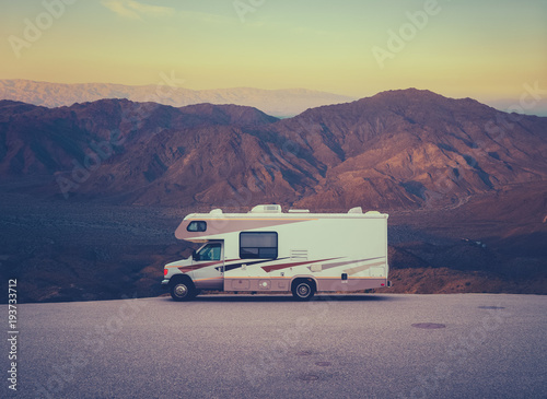 Retro RV Camper In The Desert