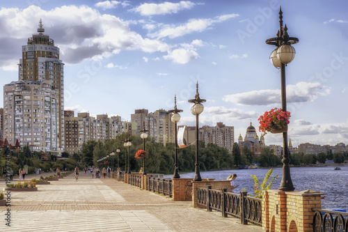 Quay, daylight, River, high buildings, Canvas-taulu