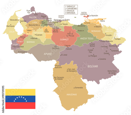 Платно  Venezuela - vintage map and flag - Detailed Vector Illustration