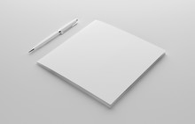 Blank Square Photorealistic Booklet Mockup On Light Grey Background, 3D Illustration.