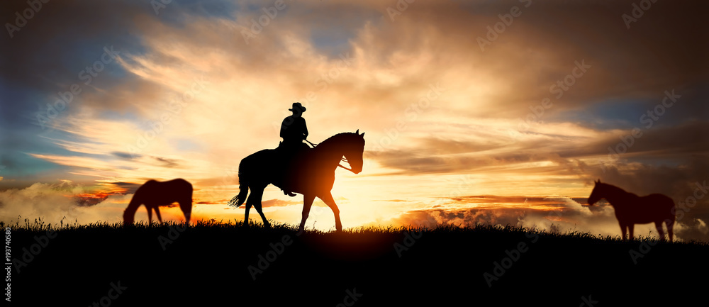 Fototapety, obrazy: A silhouette of a cowboy and horse at sunset