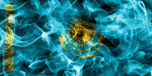 Fototapety, obrazy: Kazakhstan smoke flag