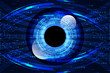 abstract technology science concept eye digital link and binary hi tech on blue background