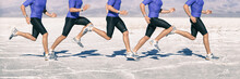 Biomechanis Of Running - Gait Cycle Movement Analysis Of Runner Sprinting Through Desert Jogging Fast. Closeup Of Legs And Shoes Composite Of Motion.