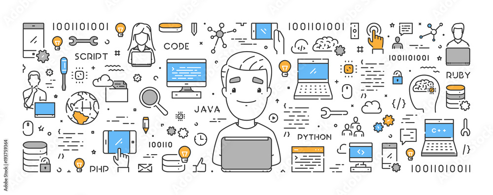 Fototapeta Vector line web concept for programming