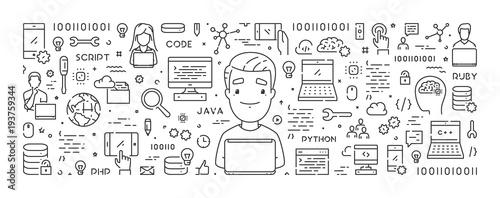 Cuadros en Lienzo Vector line web concept for programming training