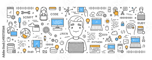 Cuadros en Lienzo  Vector line web concept for programming