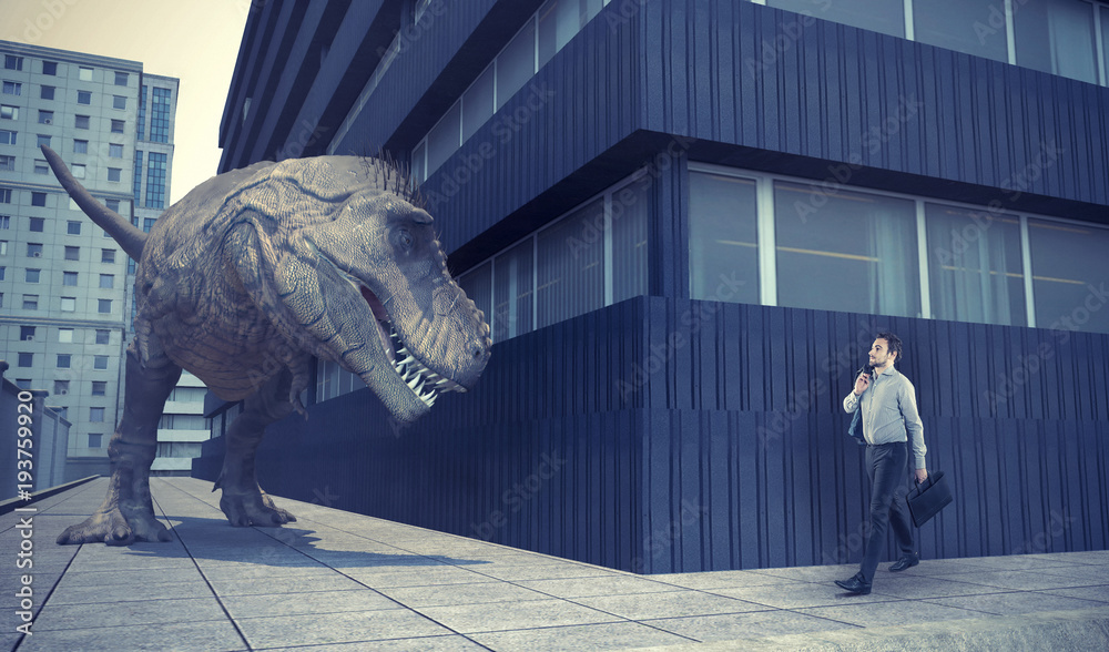Fototapeta Businessman walking in town and a dinosaur