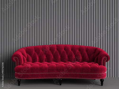 Classic tufted sofa red color in empty grey room with relief ...