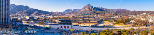 Aerial panorama of Gwanghwamun gate  and Gyeongbokgung palace Wallpaper Mural