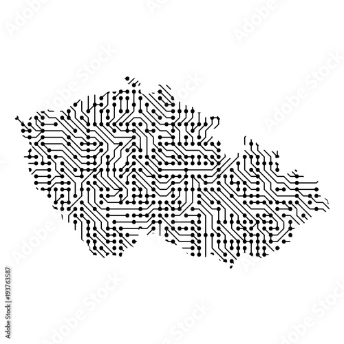 Photo  Abstract schematic map of Czech Republic from the black printed board, chip and