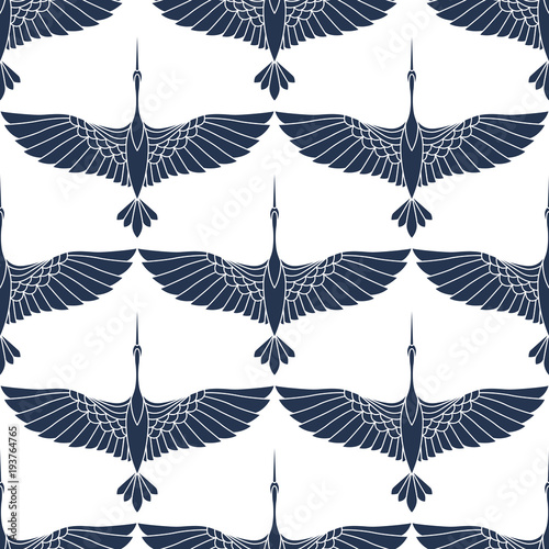 Cotton fabric Japanese seamless pattern with beautiful cranes. Chinese vector background with flying birds. Ornament with oriental motives.