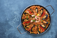 Above View Of Spanish Paella W...