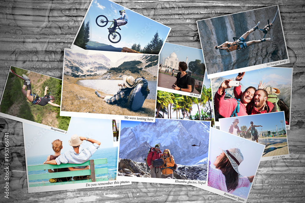Fototapety, obrazy: Sport and travel memory photos on a table