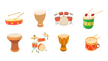 Drums Icon Set, Cartoon Style